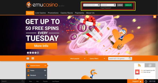 Emu Casino- Payment Option