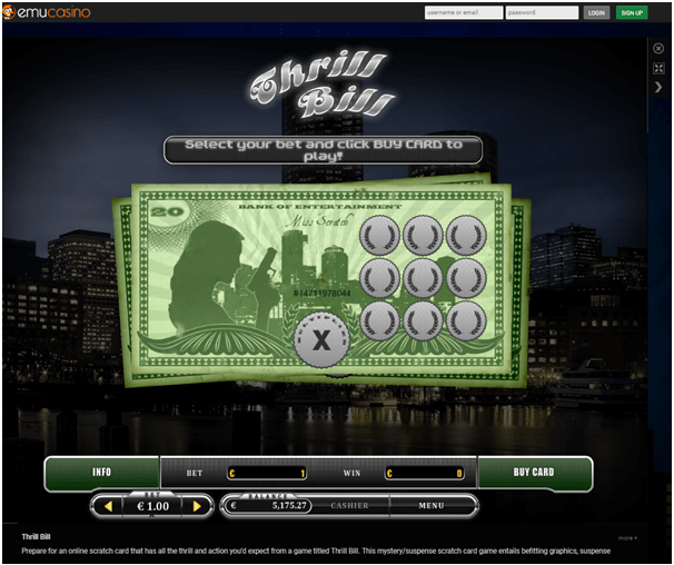 Emu casino- Scratch card games to play