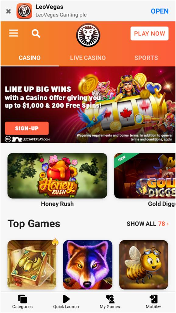 Most Popular Scratchie Apps in Australia- Leo Vegas app