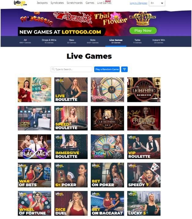 Lotto Go live casino for Australian punters