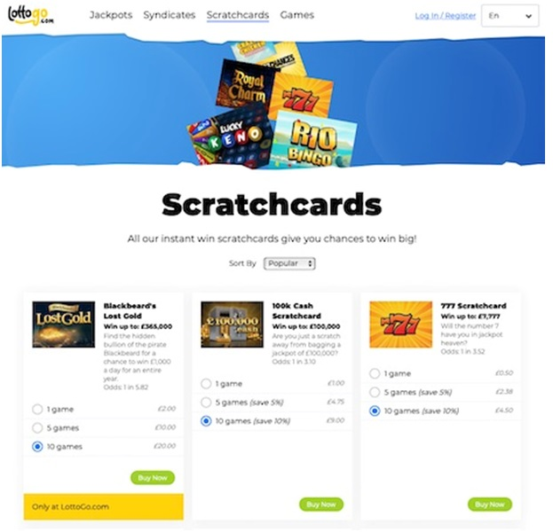 Play online scratch cards at Lotto Go Australia
