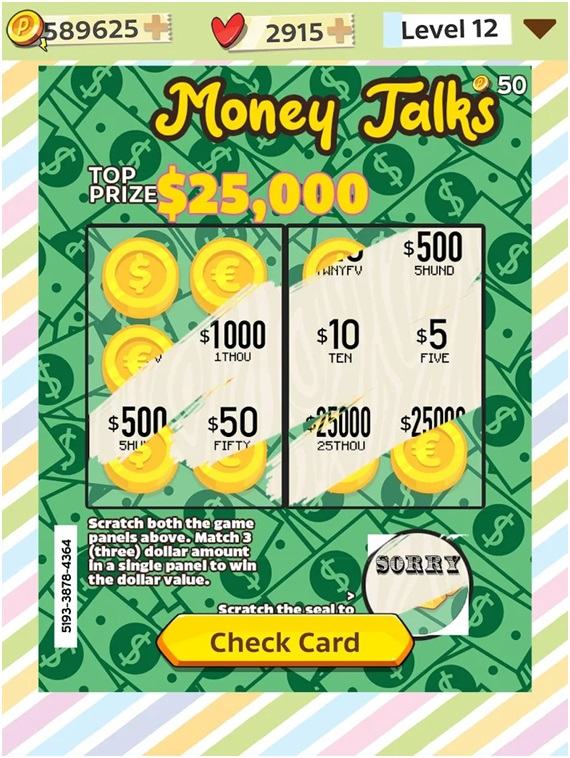 Money talks Scratch card