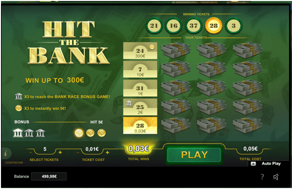 Hit the bank scratchie